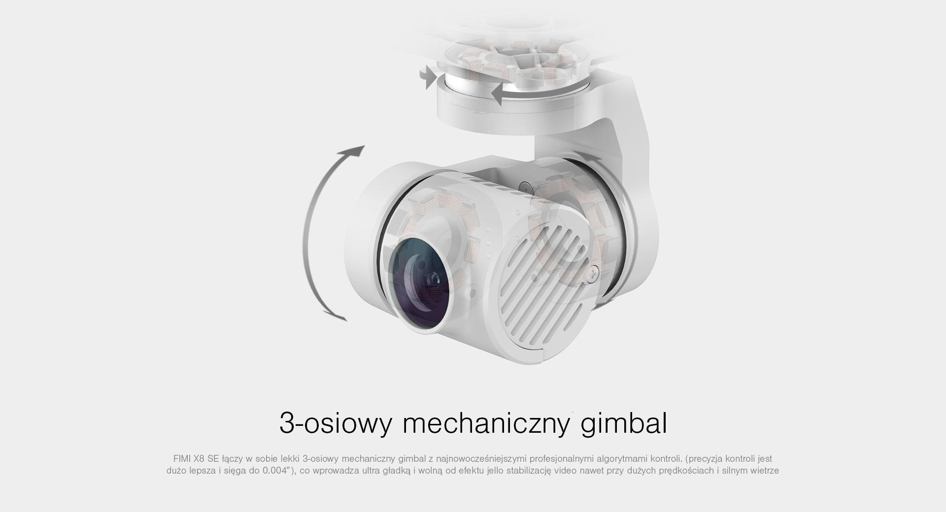 dron z 3 osiowym mechanicznym gimbalem