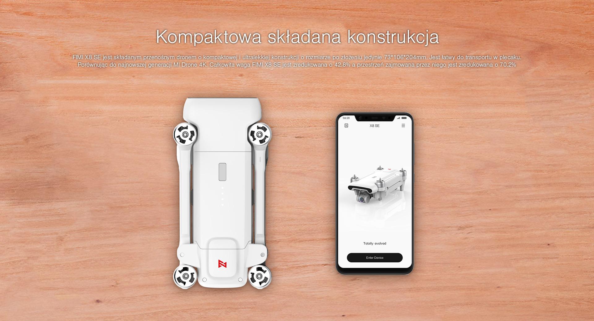 możliwość złożenia i mały rozmiar drona fimi x8 se